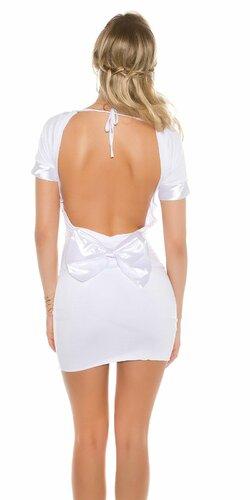 Dámske mini šaty s mašľou | Biela