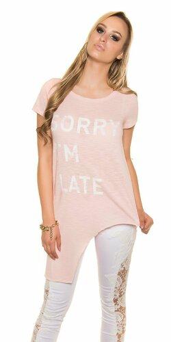 Dámske asymetrické tričko ,,Sorry I m Late,, | Bledá ružová