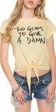 Dámske tričko ,,Too glam to give a damn,, Žltá