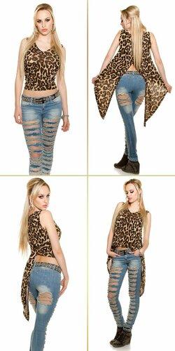 Dámsky top bez rukávov KouCla | Leopard