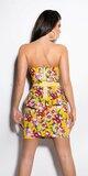 Štýlové dámske šaty s kvetinovým vzorom Žltá