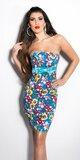 Dámske šaty s mašľou a kvetinovým vzorom Tyrkysová