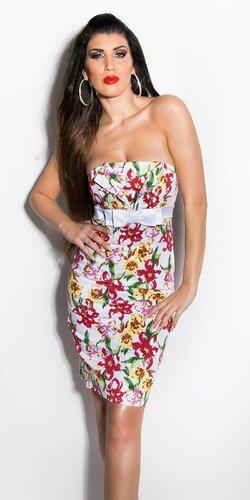 Dámske šaty s mašľou a kvetinovým vzorom | Biela