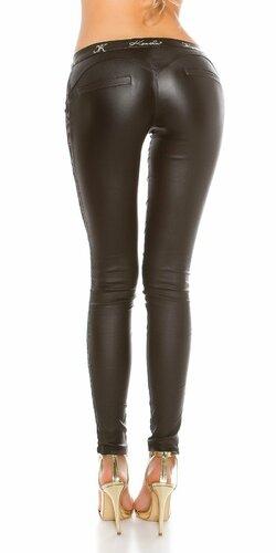 Dámske nohavice koženého vzhľadu s krásnou čipkou Čierna