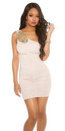 Jedno ramenné mini šaty s ozdobou | Béžová