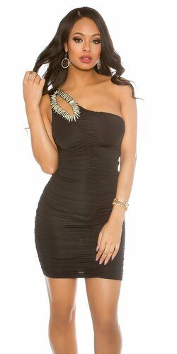 Jedno ramenné mini šaty s ozdobou | Čierna