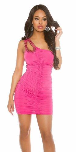 Jedno ramenné mini šaty s ozdobou | Ružová