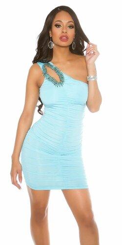 Jedno ramenné mini šaty s ozdobou