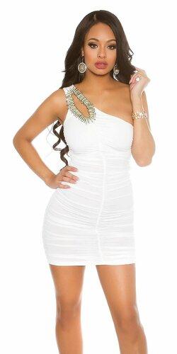 Jedno ramenné mini šaty s ozdobou | Biela