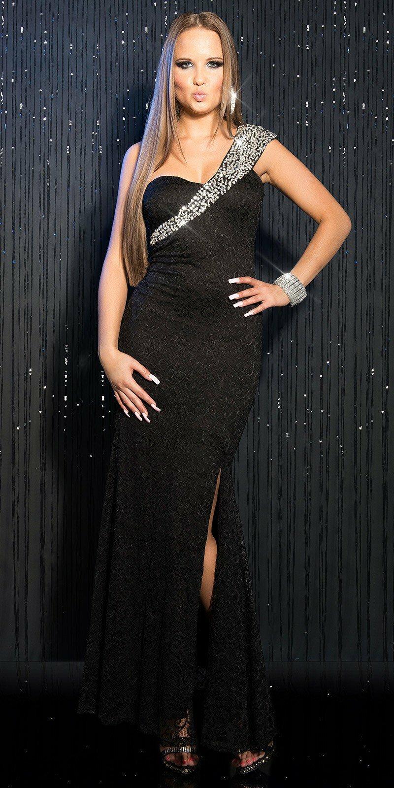 Dámske štýlové maxi šaty KouCla  Veľkosť M Farba Čierna 067ed7ef931