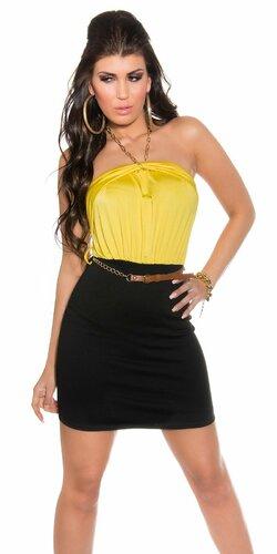 Štýlové dámske dvojfarebné letné šaty s opaskom | Žltá