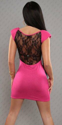Dámske mini šaty s čiernou čipkou Ružová
