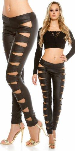 Dámske nohavice koženého vzhľadu s otvorenými zipsami | Čierna