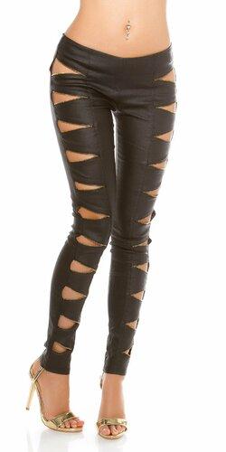 Dámske nohavice koženého vzhľadu s otvorenými zipsami Čierna