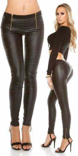 Kožené dámske Koucla nohavice s gumičkou v páse a zipsami | Čierna