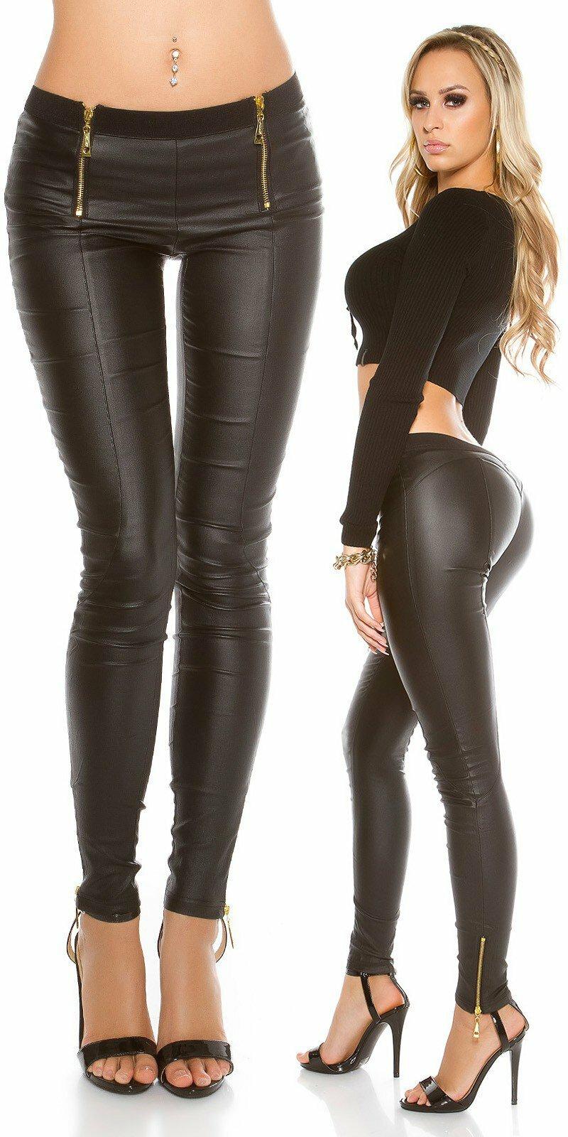 3f8443249004 Kožené dámske Koucla nohavice s gumičkou v páse a zipsami  Veľkosť L Farba  Čierna