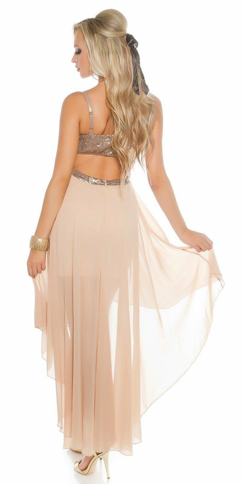 Dámske šaty na ramienka KouCla  Veľkosť L Farba Béžová 389fa922ded