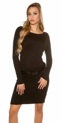 Klasické pletené šaty s opaskom | Čierna