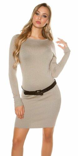Klasické pletené šaty s opaskom