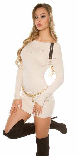 Dámske mini pletené šaty so zipsami | Béžová
