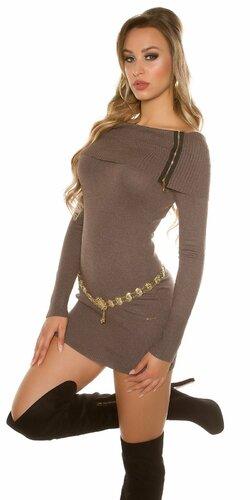 Dámske mini pletené šaty so zipsami Hnedá