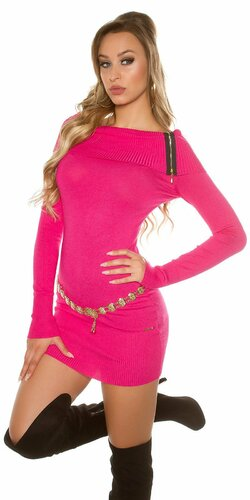 Dámske mini pletené šaty so zipsami Ružová