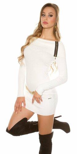 Dámske mini pletené šaty so zipsami Biela