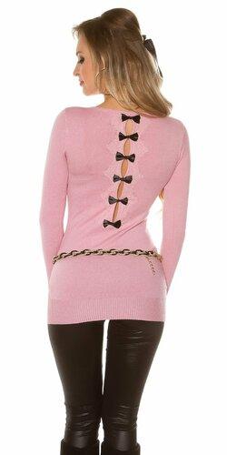 Dámsky dlhý sveter s čiernymi mašličkami na zadnej strane | Bledá ružová