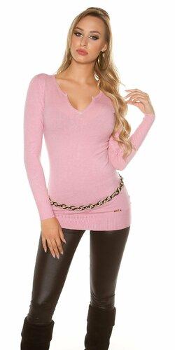 Dámsky dlhý sveter s čiernymi mašličkami na zadnej strane