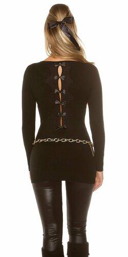 Dámsky dlhý sveter s čiernymi mašličkami na zadnej strane (Čierna)