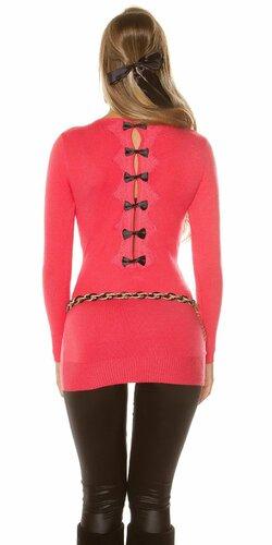 Dámsky dlhý sveter s čiernymi mašličkami na zadnej strane (Koralová)