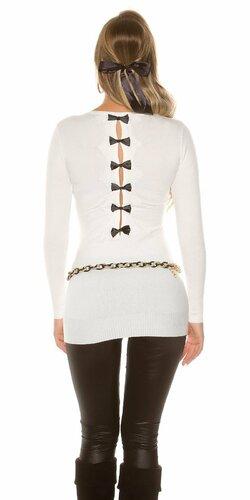 Dámsky dlhý sveter s čiernymi mašličkami na zadnej strane | Krémová