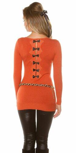 Dámsky dlhý sveter s čiernymi mašličkami na zadnej strane (Oranžová)