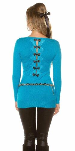 Dámsky dlhý sveter s čiernymi mašličkami na zadnej strane | Tyrkysová