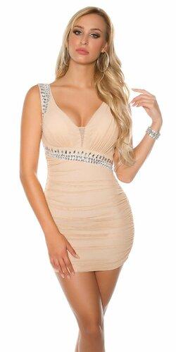 Dámske KouCla mini šaty s kamienkami Béžová