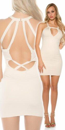 Mini šaty s otvoreným výstrihom so zapínaním okolo krku Béžová