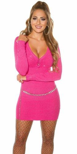 Dámsky dlhý pletený sveter s kamienkami (Ružová)