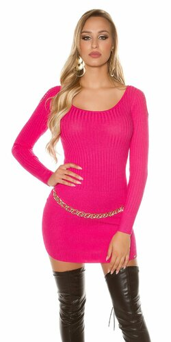 Pletené šaty vrúbkovaného vzhľadu | Ružová