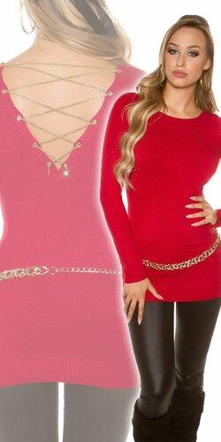 Dámsky pulóver s ozdobnou retiazkou na zadnej strane | Červená