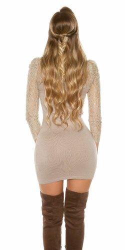 Čipkované pletené mini šaty Béžová