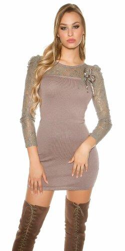 Čipkované pletené mini šaty | Cappuccino