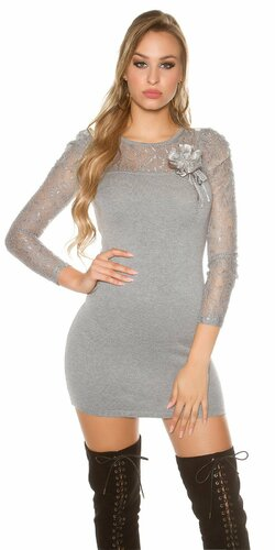 Čipkované pletené mini šaty | Šedá