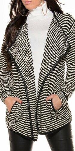 Pásiková pletená bunda Čierno-biela