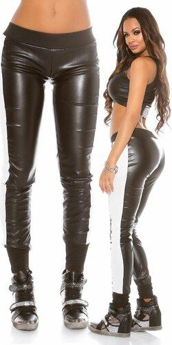 Športové nohavice koženého vzhľadu