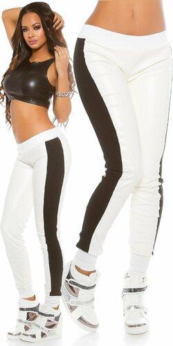 Športové nohavice koženého vzhľadu | Biela