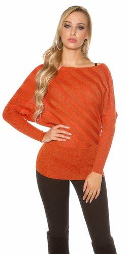 Lesklý sveter ležérneho strihu | Oranžová