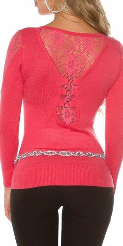 Jednofarebný čipkovaný sveter | Koralová