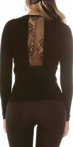 Pletený sveter s čipkou | Čierna