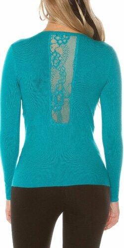 Pletený sveter s čipkou | Zafírová