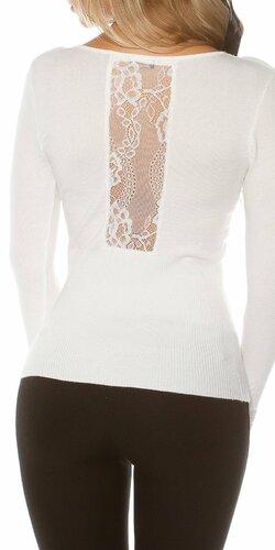 Pletený sveter s čipkou | Biela